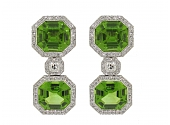 Laura Munder Peridot and Diamond Earrings in 18K