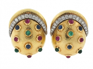 David Webb Multi-Gemstone Earrings in 18K