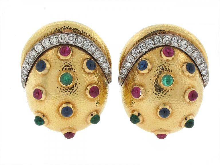 Video of David Webb Multi-Gemstone Earrings in 18K