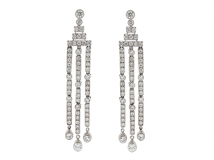 Tiffany & Co. 'Jazz' Triple-bar Diamond Drop Earrings in Platinum