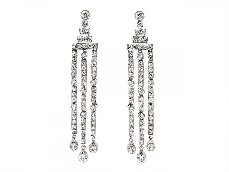 Video of Tiffany & Co. 'Jazz' Triple-bar Diamond Drop Earrings in Platinum