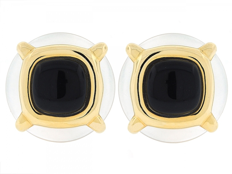 Video of Cartier Aldo Cipullo Crystal and Onyx Earrings in 18K