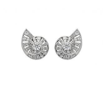 Mid-Century Diamond Swirl Earrings in Platinum and 18K White Gold