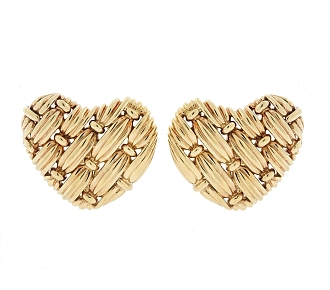 Tiffany & Co. 'Signature Series' Woven Heart Earrings in 18K