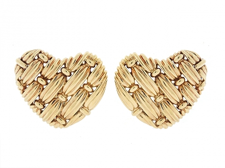 Tiffany & Co. 'Signature Series' Woven Heart Earrings in 18K