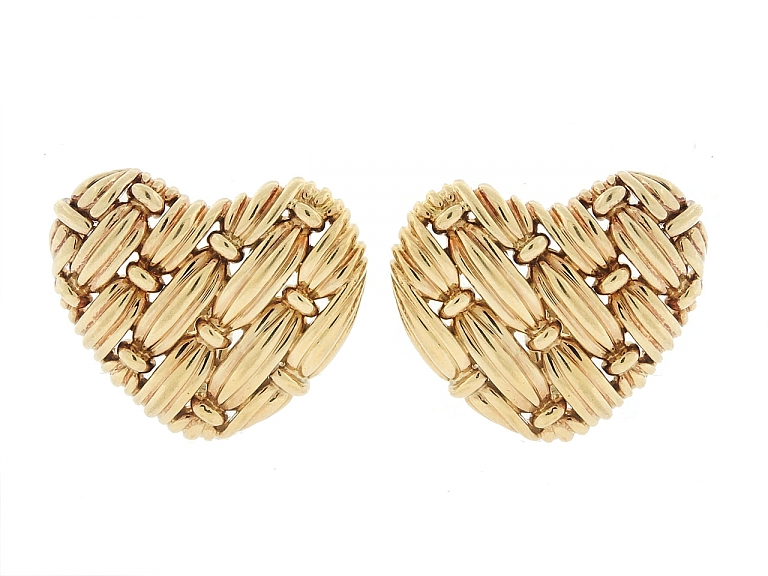 Video of Tiffany & Co. 'Signature Series' Woven Heart Earrings in 18K