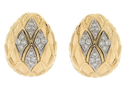 David Webb Diamond Earrings in 18K and Platinum