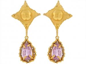 Jean Mahie and Neiman Marcus Kunzite and Diamond Earrings in 22k