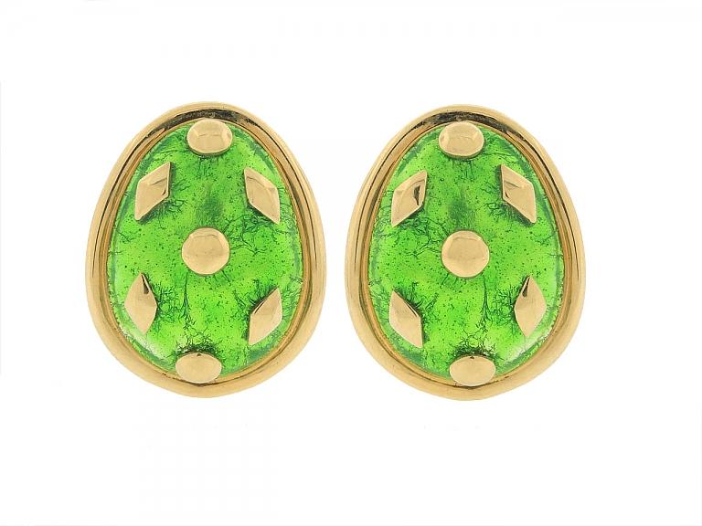 Video of Tiffany & Co. Green Enamel Schlumberger Earrings in 18K