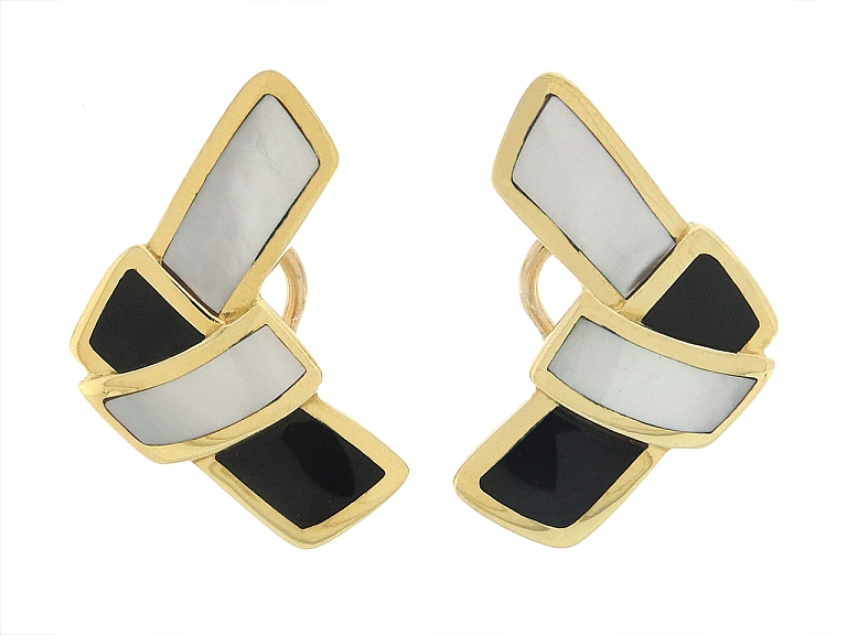 Video of Tiffany & Co. Mother-of-Pearl and Onyx Earrings in 18K