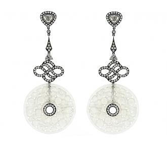 White Jade, Diamond and Blackened Gold Earrings in 18K