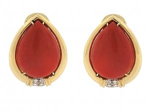Trio Red Coral Earrings in 18K