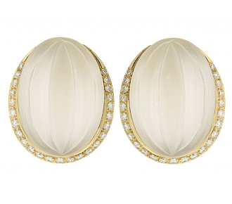 Rock Crystal and Diamond Earrings in 18K