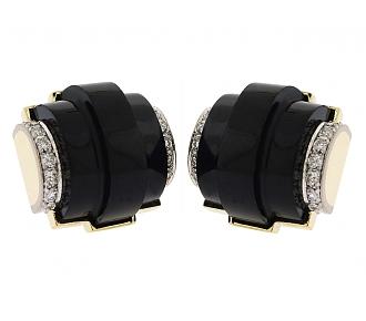 Trio Black Jade and Diamond Earrings in 18K