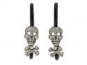 Lydia Courteille Diamond and Enamel Skull Earrings in 18K