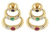 Multi-Gemstone and Diamond Earrings in 18K