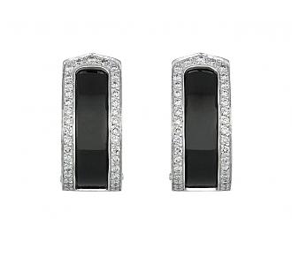 Cartier 'Double C' Black Ceramic and Diamond Earrings in 18K