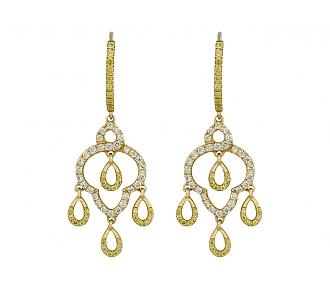 Alan Friedman Yellow and White Diamond Dangle Earrings in 18K