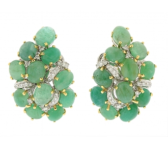 Emerald and Diamond Cluster Earrings in 18K White and Yellow Gold