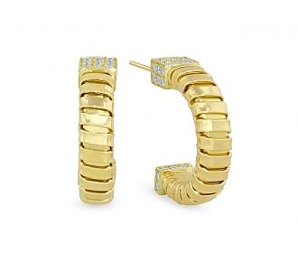 'Veneto' Diamond Hoop Earrings with Diamond Terminals in 18K Gold, by Carlo Weingrill