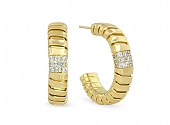 'Veneto' Gold and Pavé-set Diamond Hoop Earrings in 18K Gold, by Carlo Weingrill