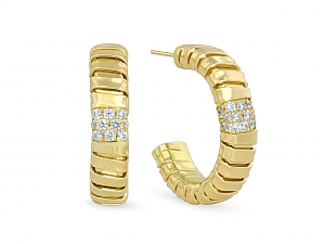 'Veneto' Gold and Pavé-set Diamond Hoop Earrings in 18K Gold, by Carlo Weingrill