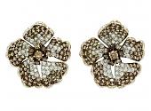 Brown and White Diamond Flower Earrings in 18K White Gold