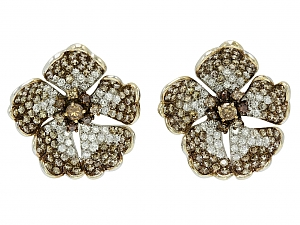 Brown and White Diamond Flower Earrings in 18K White Gold