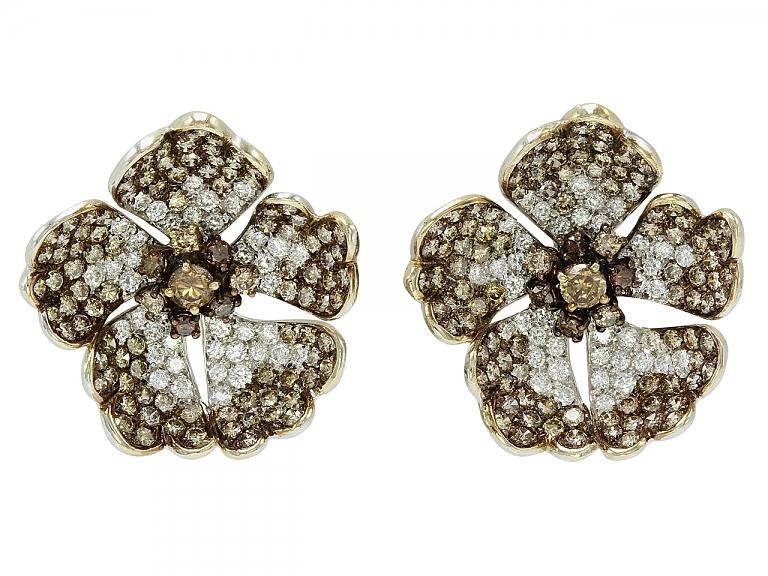 Video of Brown and White Diamond Flower Earrings in 18K White Gold