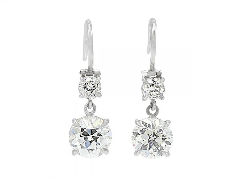 Video of Beladora 'Bespoke' Two Stone Diamond Dangle Earrings in Platinum