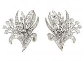 Diamond Flower Earrings in Platinum