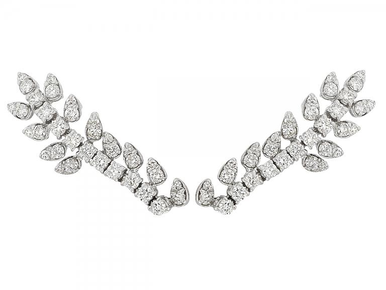 Video of Beladora 'Bespoke' Diamond 'Vine' Earrings in 18K White Gold