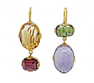 Renee Lewis Multi-Gemstone Mismatched Earrings in 18K Gold
