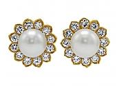 Tallarico Pearl and Diamond Earrings in 18K Gold