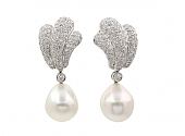 Pearl and Diamond Earrings in 18K White Gold