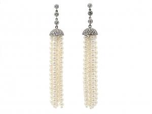 Beladora 'Bespoke' Pearl and Diamond Tassel Earrings in Platinum