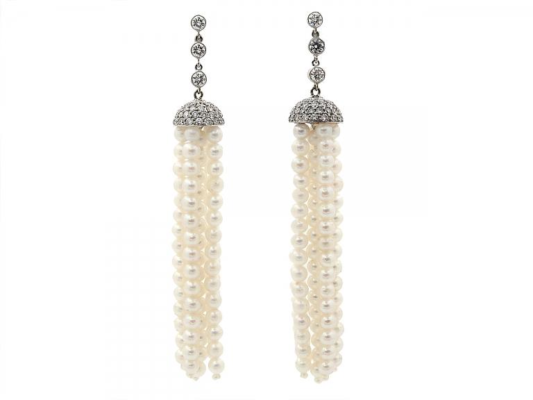 Video of Beladora 'Bespoke' Pearl and Diamond Tassel Earrings in Platinum