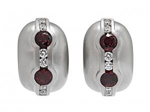 Kieselstein-Cord Ruby and Diamond Hoop Earrings in Platinum