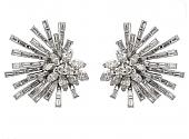 Mid-Century Diamond Spray Earrings in Platinum