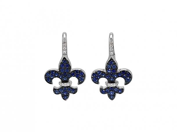 Rhonda Faber Green Sapphire 'Fleur-de-Lis' Earrings in 18K White Gold