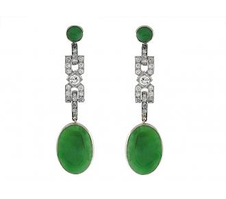 Art Deco Diamond and Jade Earrings in Platinum