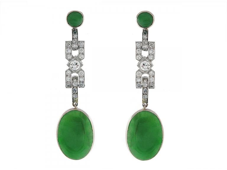 Video of Art Deco Diamond and Jade Earrings in Platinum