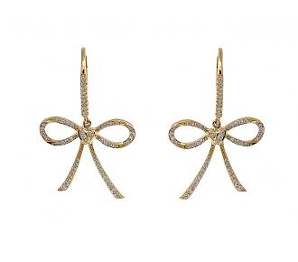 Rhonda Faber Green Diamond 'Bow & Heart' Earrings in 18K Gold