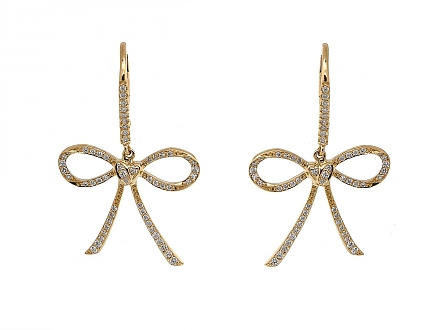 Rhonda Faber Green Diamond 'Bow & Heart' Earrings in 18K Gold
