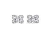Van Cleef & Arpels Diamond Butterfly Stud Earrings in 18K White Gold