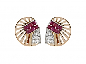Retro Ruby and Diamond Earrings in 14K Gold