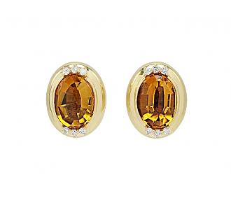 Gumps Citrine and Diamond Earrings in 18K Gold