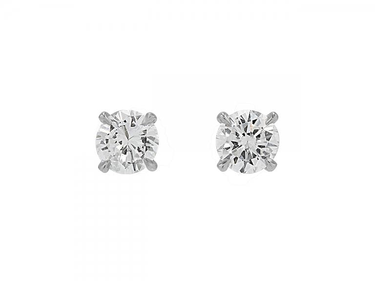 Video of Beladora 'Bespoke' Diamond Stud Earrings, 1.12 total carats, in Platinum