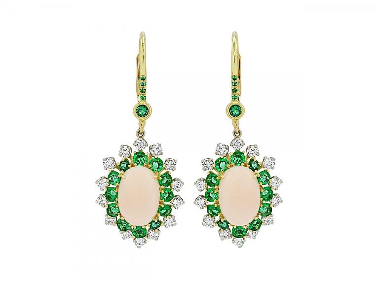 Video of Beladora 'Bespoke' Coral, Emerald and Diamond Earrings in 18K