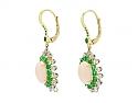 Beladora 'Bespoke' Coral, Emerald and Diamond Earrings in 18K